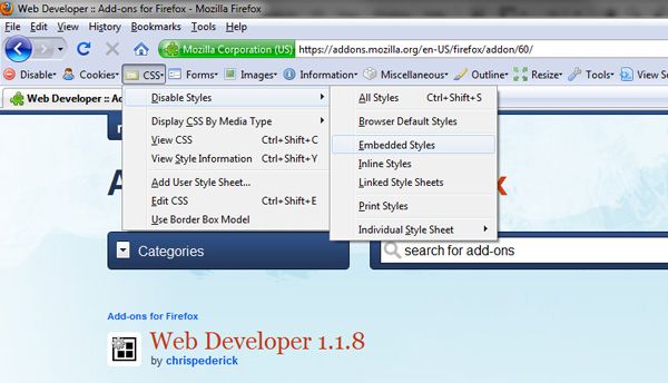 Firefox Web Developer Toolbar